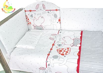 Picture of 9 pieces Baby bedding - Red zoo