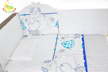 Picture of 9 pieces Baby bedding(+ gratis pillow cover) - Blue Zoo