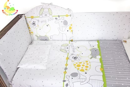Picture of 9 pieces Baby bedding (+ gratis pillow cover)- Green Zoo
