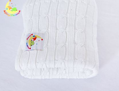 Picture of Cotton knitted blanket 100x80cm - White