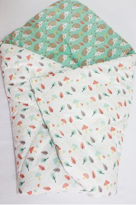 Picture of Cotton  carrier  blankets 2 in 1 -  Green hedgehog