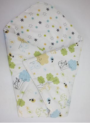 Picture of Cotton  carrier  blankets 2 in 1 -  Animals green-blue