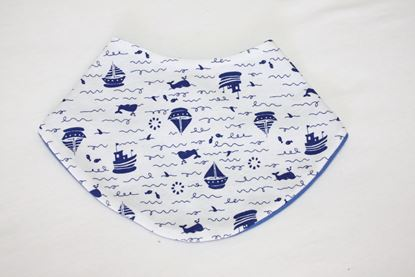 Picture of Baby scarf bib -  Blue boats