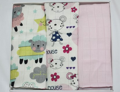 Picture of Children swaddle blanket 100% bamboo, 3pcs set - Mouse and Sheep