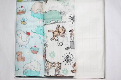 Picture of Children swaddle blanket 100% bamboo, 3pcs set - Giraffe and Elephant