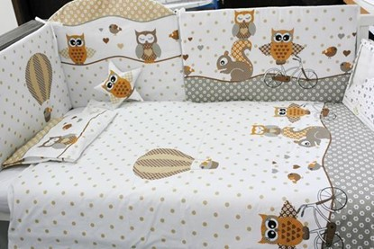 Picture of 9 pieces Baby bedding(+ gratis pillow cover) - Owls beige