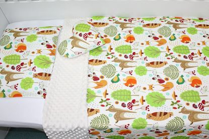 Picture of Bamboo set with blanket size 100x80, pillow, cover for pillow and star - Forest animals
