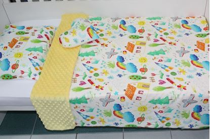 Picture of Bamboo set with blanket size 100x80, pillow, cover for pillow and heart - Kids Drawing