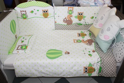 Picture of 9 pieces Baby bedding(+ gratis pillow cover) - Owls green