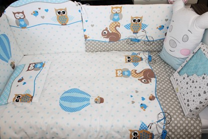 Picture of 9 pieces Baby bedding(+ gratis pillow cover) - Owls blue