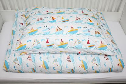 Picture of 4 Pieces bedding set for bed size 200 x 90 cm  -  Boats