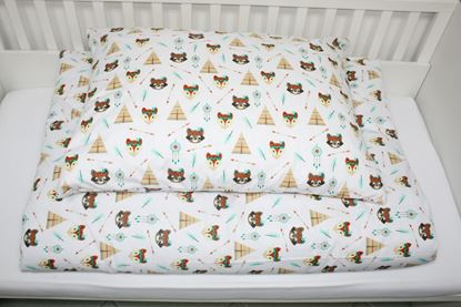 Picture of 4 Pieces bedding set for bed size 200 x 90 cm  -  Foxes and tents