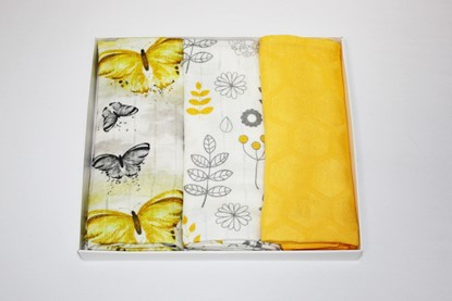 Picture of Children swaddle blanket 100% bamboo, 3pcs set - Butterfly