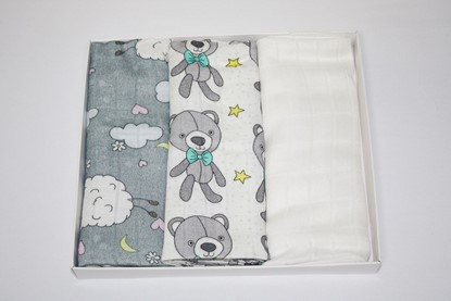 Picture of Children swaddle blanket 100% bamboo, 3pcs set - Grey Teddy and Sheep