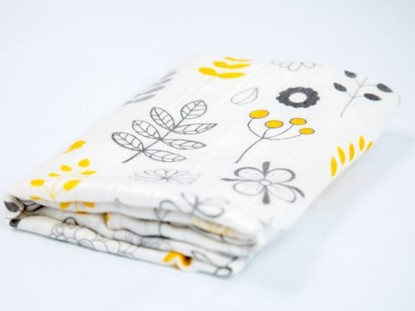 Picture of Children swaddle blanket 100% bamboo - Leaf and flower