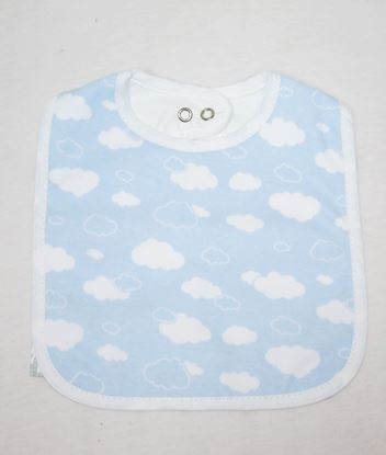 Picture of Baby bib with waterproof lining  -  blue clouds