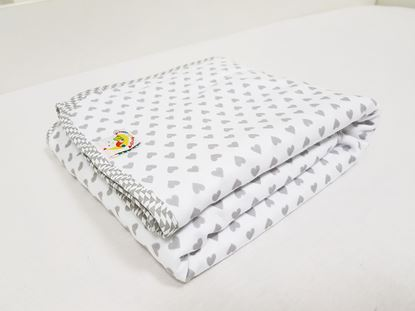 Picture of Cotton minky blanket  - Grey hearts