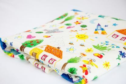Picture of Cotton minky blanket  - Kids drawing