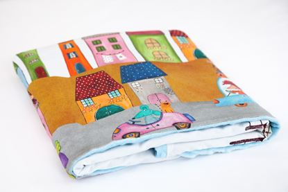 Picture of Cotton minky blanket  - Blue houses