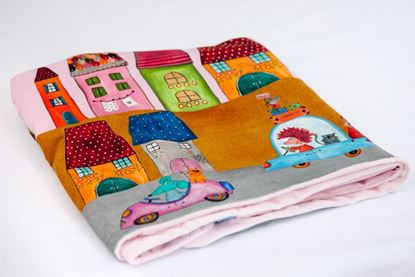 Picture of Cotton minky blanket  - Rose houses