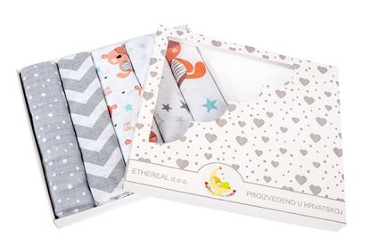 Picture of Cotton tetra nappies - 5 pcs set Teddy and stars