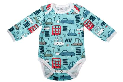 Picture of Baby body - designer - Blue cars