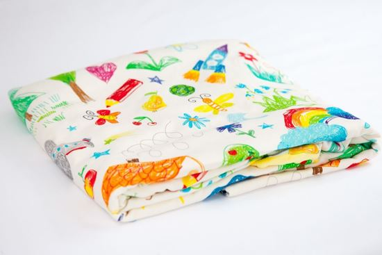 Ethereal Bamboo Minky Blanket Kids Drawing 100 X 80 Cm