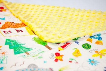 Picture of Bamboo minky blanket - Kids drawings  120 x 100 cm