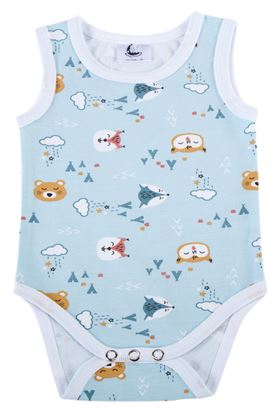 Picture of Baby body - no sleeves - Blue teddy