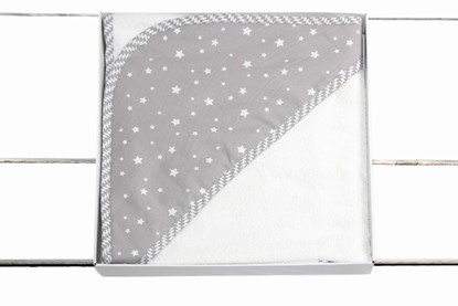 Picture of Bamboo hooded towel 90x90cm - Grey stars