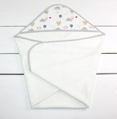 Picture of Bamboo hooded towel 90x90cm - Teddy and stars