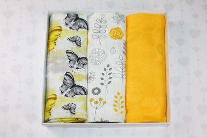 Picture of Bamboo tetra swaddles, 3 pcs set - Butterfly and Flowers
