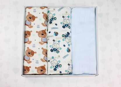Picture of Bamboo tetra swaddles, 3 pcs set - Teddy and Hippo