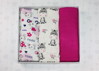 Picture of Bamboo tetra swaddles, 3 pcs set - Little mouse and Zebra