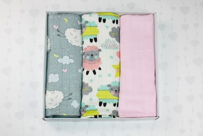 Picture of Bamboo tetra swaddles, 3 pcs set - Sheep