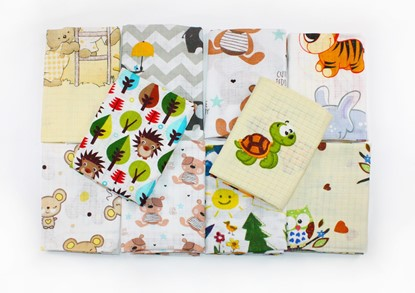 Picture of Children nappy 100% cotton - 5 pcs set Kids drawing and hedgehog