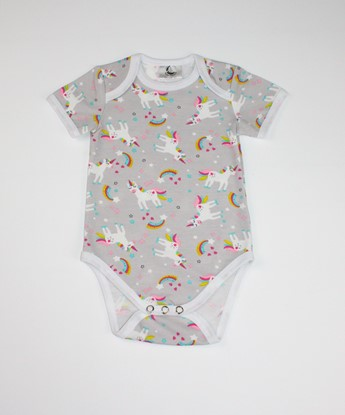 Picture of Baby body short sleeves - Grey unicorn
