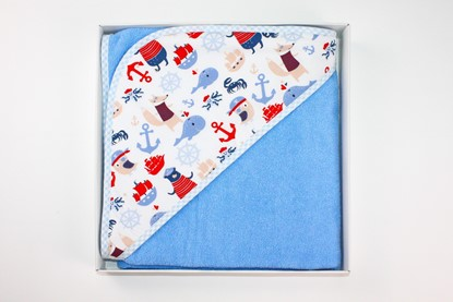 Picture of Cotton hooded towel - 100 x 100 cm - Sea motives - blue