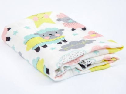 Picture of Children swaddle blanket 100% bamboo - Colorful sheep