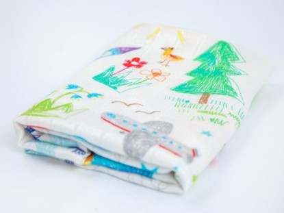 Picture of Children swaddle blanket 100% bamboo - Kids drawing