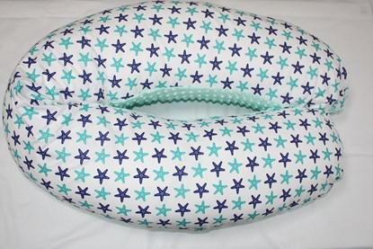 Picture of Nursing pillow cotton+minky cover -  Mint stars