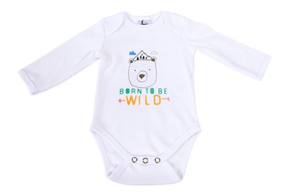 Picture of Baby body long sleeves organic cotton - Born to be wild