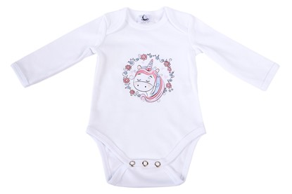 Picture of Baby body long sleeves organic cotton - Unicorn