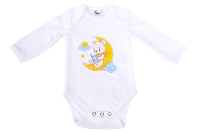 Picture of Baby body long sleeves organic cotton - Teddy on the moon