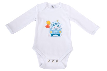 Picture of Baby body long sleeves organic cotton - Teddy in the car
