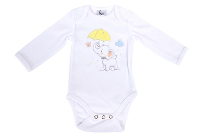 Picture of Baby body - long sleeve  - Elephant with an ubrella