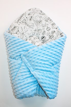 Picture of Cotton  carrier  blankets 2 in 1 -  Blue minky + Superhero