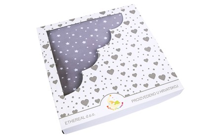 Picture of Cotton minky blanket 100x80cm - Grey stars