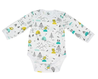 Picture of Baby body long sleeve - birds and mountains
