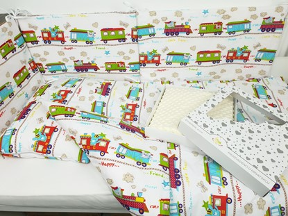 Picture of 7 pieces baby bedding  - Train